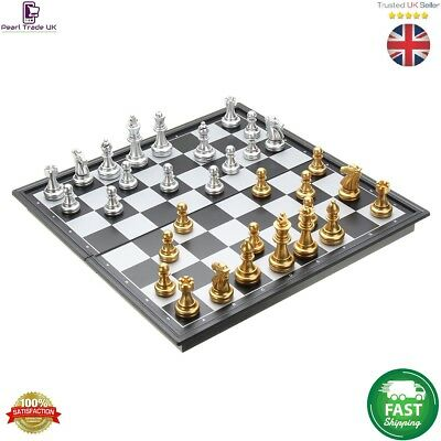 Magnetic Gold Silver Folding Chess Board Game Set/High Quality Chess new