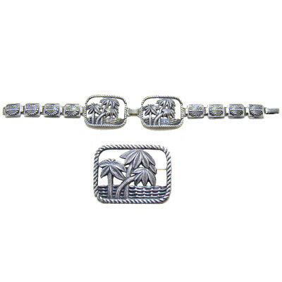 Sterling Bracelet and Broach Set with Palm Tree Motif