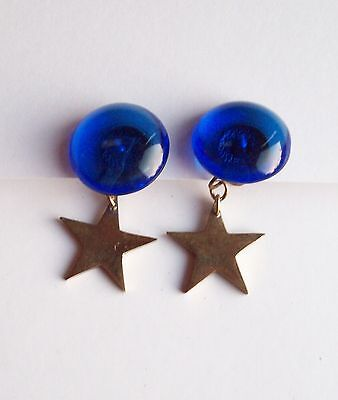 Vtg Blue Glass with Star Earrings - Western Germany - Clip-on