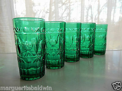 Indiana Colony Glass 5 Teal Green Park Lane 12 ounce Tumblers