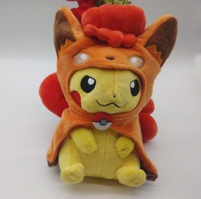 Pokemon Center Original Plush Sun Alolan Vulpix Poncho Pikachu doll 20CM Gift