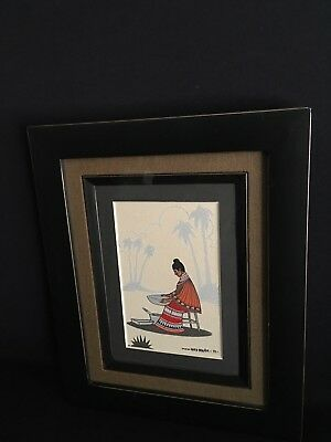 FRED BEAVER GOUACHE 1971-SIGNED-ON BACK SEMINOLE WOMAN SIFTING POUNDED CORN  4x6