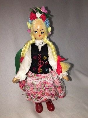 Vintage Dutch Wooden Hand Painted Articulated Doll Souvineer