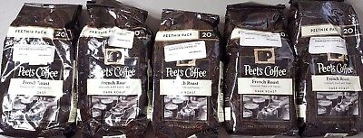 6.25 POUNDS!!! - Peet's Coffee, French Roast - 5, 20-Ounce Bags!