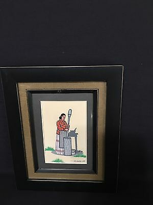 FRED BEAVER 1967--4 1/2 x 6 1/2--CREEK WOMAN POUNDING CORN - EXCELLENT CONDITION