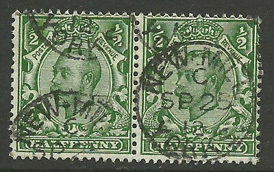 "GB 1912 SG339a - 1/2d GREEN ""NO CROSS ON CROWN"" (PAIR), USED. (SEE BELOW)"