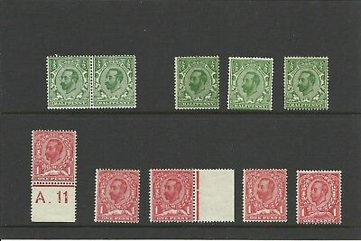 Gb George V 1911 - 1913 - Varied Downeys, Mint, Mnh (See Below)