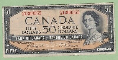 1954 Bank of Canada 50 Dollar Note - Coyne/Towers - A/H1369555 - Fine