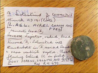Sestertius Commodus 191AD Jupiter Metal Detector Find UK as Found Uncleaned