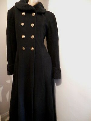 First Avenue Very Stunning Vintage Black Wool & Cashmere Glamour Style Coat 12