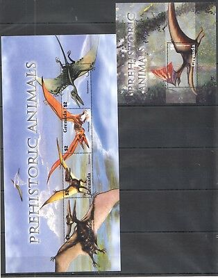 O696 Grenada Animals Prehistoric Animals 1Kb+1Bl Mnh