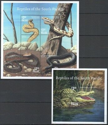 O697 Palau Animals Reptiles Of The South Pacific 1Bl+1Kb Mnh