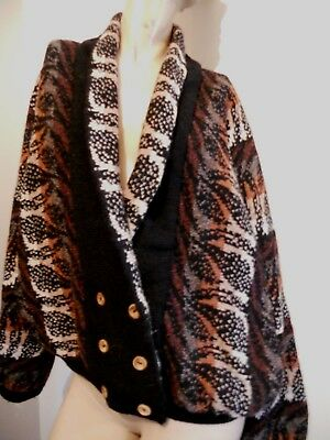 Bill Baber Stunning Vintage Pure Wool Carpet Slouch Bomber Glamour Style Coat 12