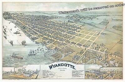 Historical 1896 Wall Art Map of Wyandotte Michigan 11x17