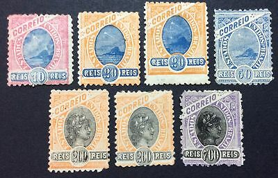 Brazil 1894 regular issue, group of stamps, Mi #104, 105a,b, 107, 118b, MH, NG