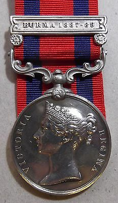 1854 INDIA GENERAL SERVICE MEDAL with BURMA 1887-89 BAR - 1st Hampshire