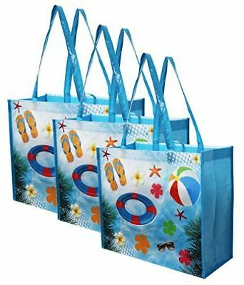 Large Reusable Grocery Bag Shopping Tote w/ Tropical Beach Print (3 Pack)