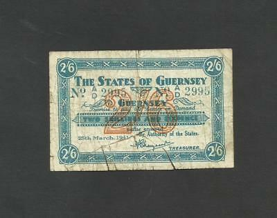Guernsey  2 Shillings + 6 Pence  2/6    1941  P18