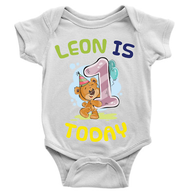 Personalised Name Is 1 Today Babygrow Birthday 1 Year Old Custom Gift Baby Suit