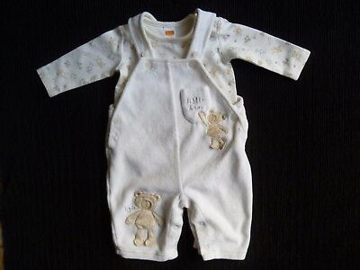 Baby clothes UNISEX BOY GIRL 0-3m outfit cream velour dungarees/L/S body bears