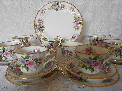 Vintage Royal Kendal Tea Set For 6 Pink Roses & Gilt Fine Bone China  Weddings