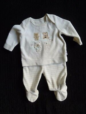Baby clothes UNISEX BOY GIRL 0-3m NEW outfit cream velour trousers/L/S top bears
