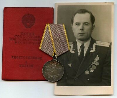 "Soviet Russian ARMY Medal Silver ""For Services In Battle"" With The Document RARE"