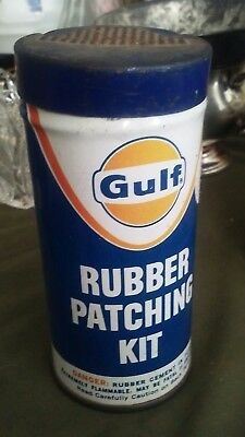 Vtg Gulf Oil Chemical Co 1976  Rubber Patching Kit Tin Can Crescent scuffer