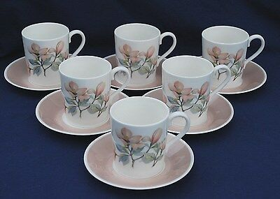 "SIX (6) ROYAL ADDERLEY (Ridgway Potteries) ""OPHELIA"" BONE CHINA CUPS & SAUCERS ."