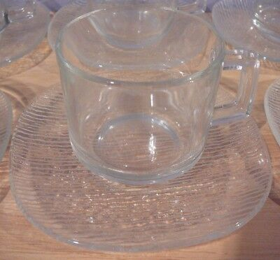 6 Clear Glass Coffee Tea Cups & Saucers France & 6 Dessert Plates France