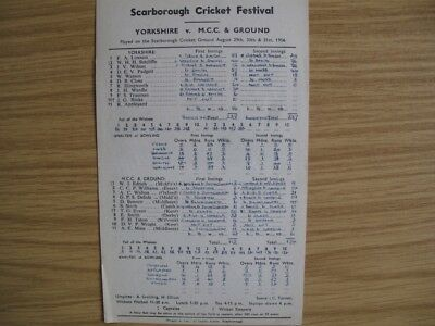 SCORECARD - YORKSHIRE v M.C.C. & GROUND @SCARBOROUGH - AUGUST 1956