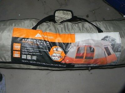 """Instant Camping Tent Sleeps 8 Person Cabin Family Size 13' x 9' x 76"""" Orange"""