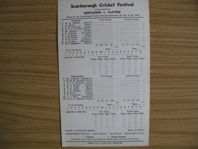 SCORECARD - GENTLEMEN v PLAYERS @SCARBOROUGH - SEPTEMBER 1956
