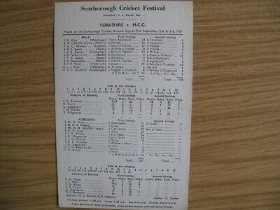 SCORECARD - YORKSHIRE v M.C.C. @SCARBOROUGH - SEPTEMBER 1957