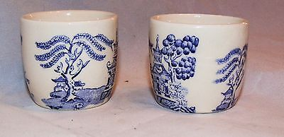 VINTAGE  BLUE AND WHITE WILLOW PATTERN  EGG CUPS x 2