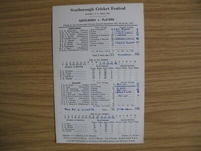 SCORECARD - GENTLEMEN v PLAYERS @SCARBOROUGH - SEPTEMBER 1957