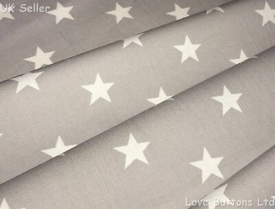 Rose & Hubble Grey And White Star Fabric 100% Cotton 112Cm Wide Half Metres