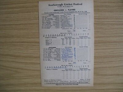 SCORECARD -  GENTLEMEN v PLAYERS @SCARBOROUGH - SEPT. 1958