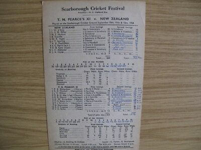 SCORECARD -  T.N.PEARCE'S XI v NEW ZEALAND @SCARBOROUGH - SEPT. 1958