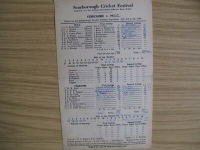 SCORECARD -  YORKSHIRE v M.C.C. @SCARBOROUGH - SEPT. 1959