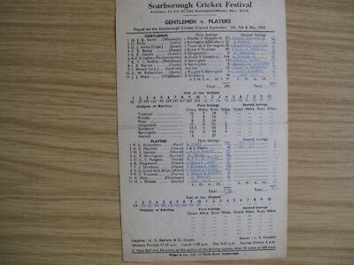 SCORECARD -  GENTLEMEN v PLAYERS @SCARBOROUGH - SEPT. 1959