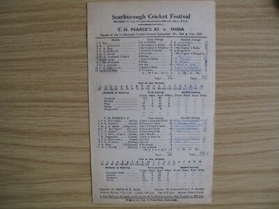 SCORECARD -  T.N. PEARCE'S XI v INDIA @SCARBOROUGH - SEPT. 1959