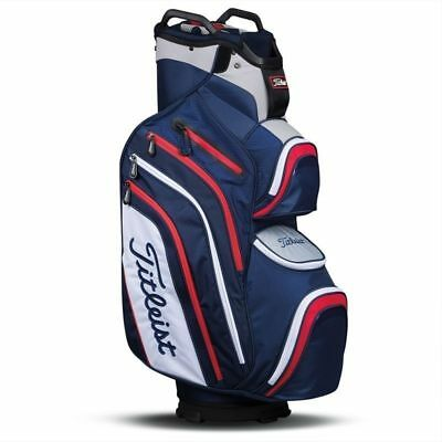 NEW 2017 Titleist Deluxe Golf Cart Bag Navy White Red TB6CT6-416 14 Way Divider