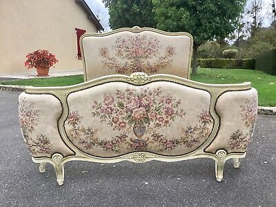 Vintage French Demi Corbeille Double Bed Frame Louis XV Style Tapestry