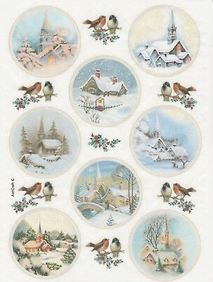 Rice paper -Winter Village- for Decoupage Scrapbooking Sheet