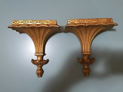 Pair Of Vintage Gold Plaster Wall Shelves Two Gold Fluted Regency Style Sconces