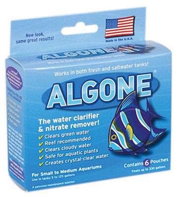 Algone Water Clarifier&Nitrate Remover Small Prevents Outbreaks 6 Filter Pouches