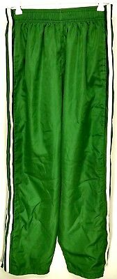 Athletic Works Unisex Tare Off Green Snap Up Sides Windbreaker Pants Size 32/34M
