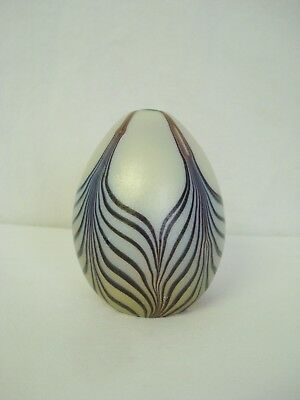 Orient & Flume Glass Iridescent Pulled Feather Egg Paperweight Gold Purple