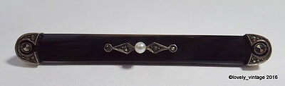 """Victorian Sterling Silver Onyx Marcasite & Faux Pearl Mourning Bar Brooch 2.75"""""""